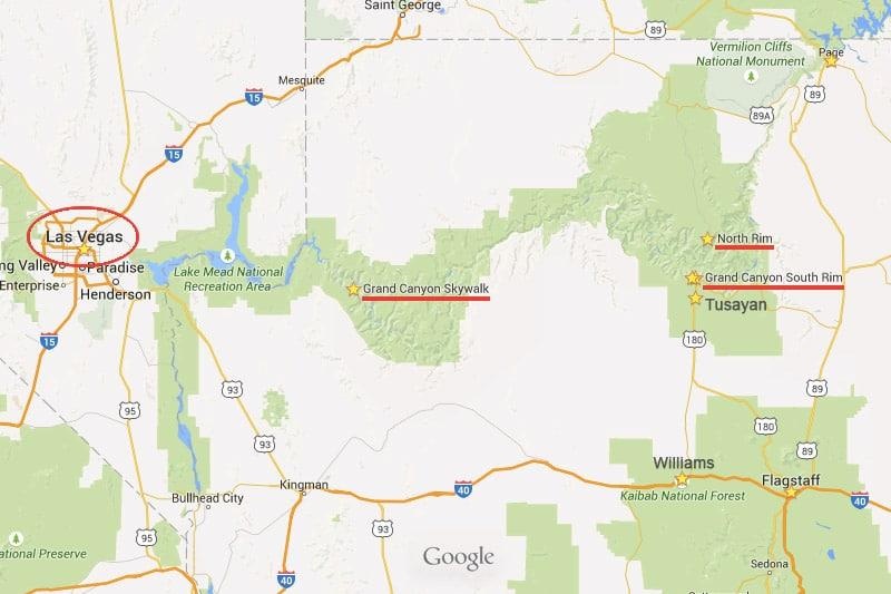 Mapa do Grand Canyon