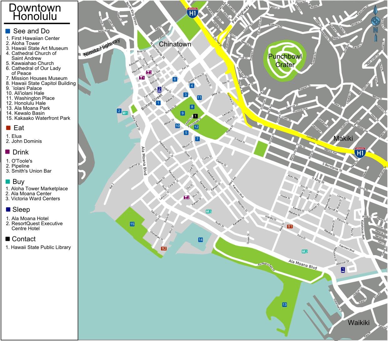 Mapa dos pontos turísticos de Honolulu