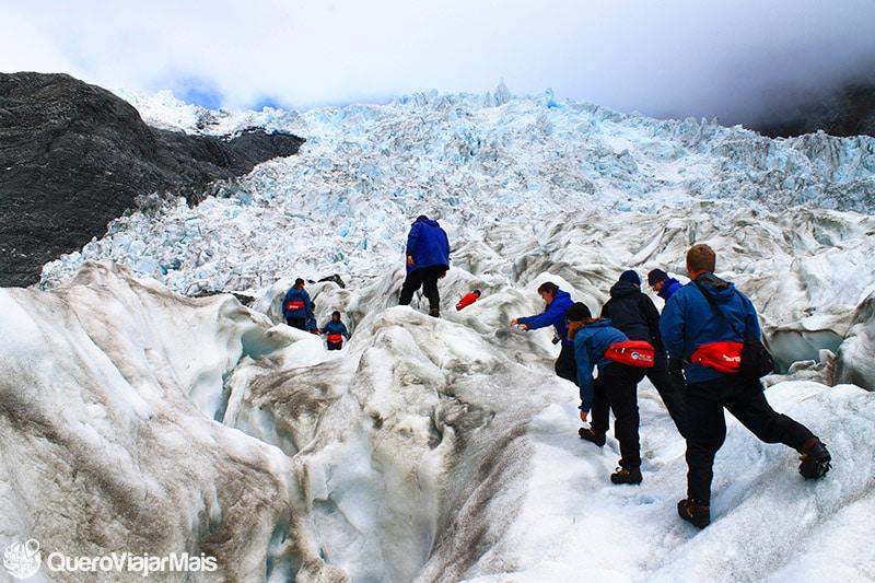 Trilha nas geleiras de Franz Josef