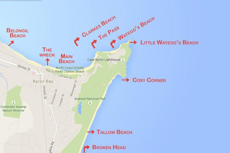 Resultado de imagem para Byron bay mapa das praias