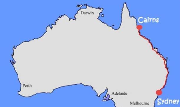 Roteiro na costa leste da Austrália