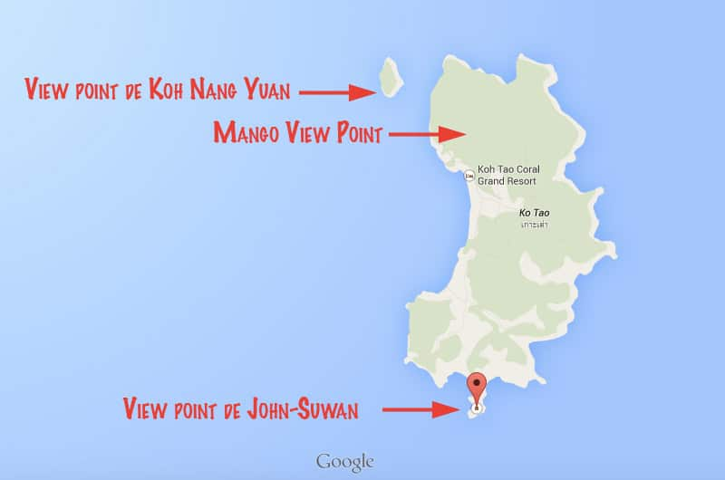 Mapa / View Points de Koh Tao