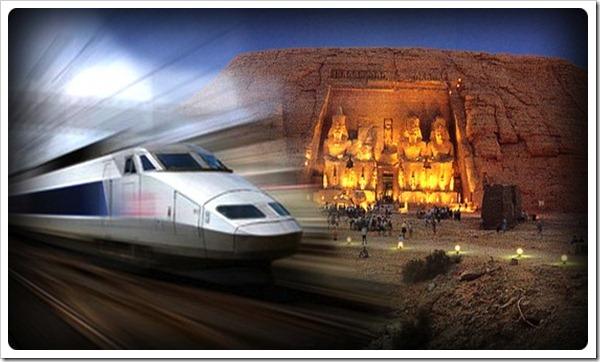 Viagem de trem no Egito