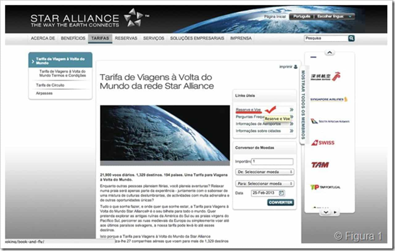 Bilhete de volta ao mundo da Star Alliance