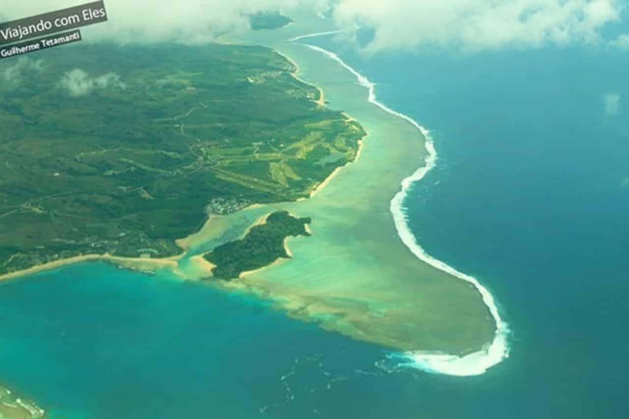 Visão aérea dos corais em Fiji