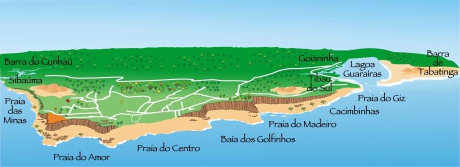 Mapa das Praias de Pipa.