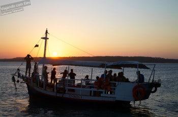 Pôr-do-sol no barco.