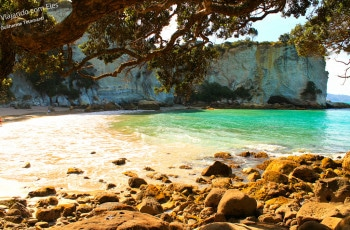 A praia de Cathedral Cove.