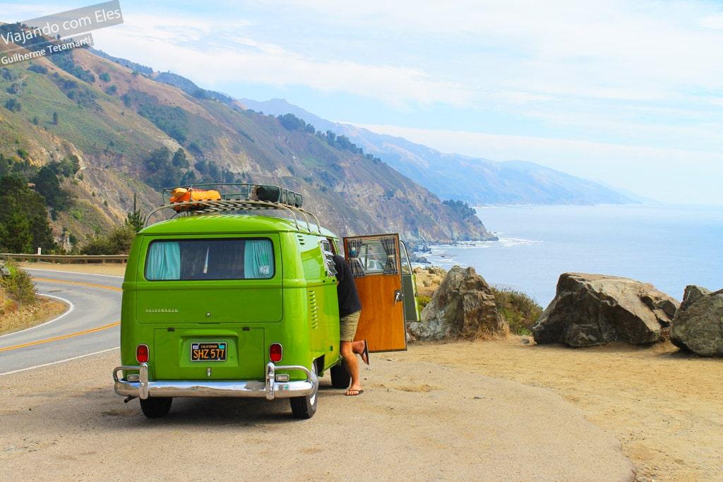 Viagem de carro na Califórnia.