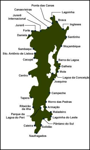 Mapa das praias de Floripa