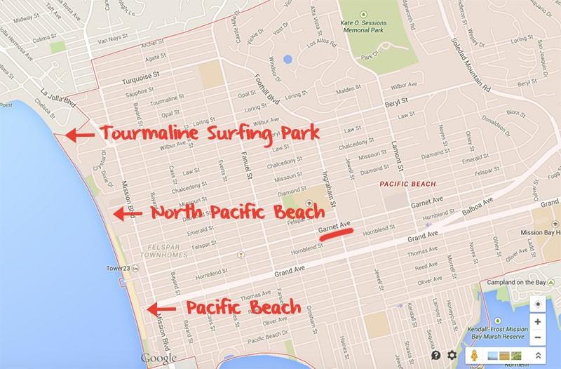 Praias de Pacific Beach / San Diego