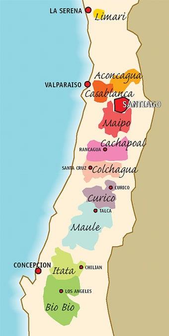 Mapa das vinícolas de Santiago