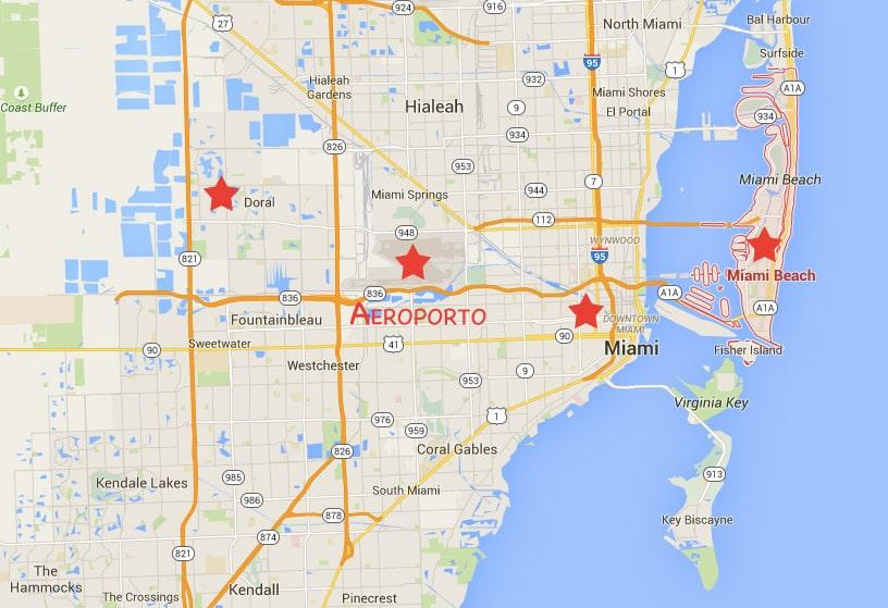 Mapa dos hotéis em Miami