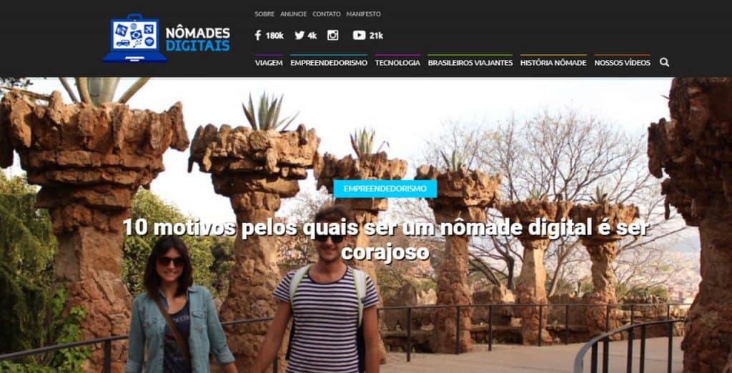 Nômades Digitais site