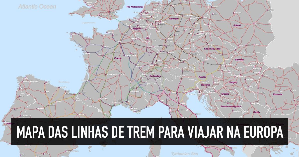 Mapa das linhas de trem na Europa