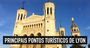 Mapa dos 10 principais pontos turísticos de Lyon, na França