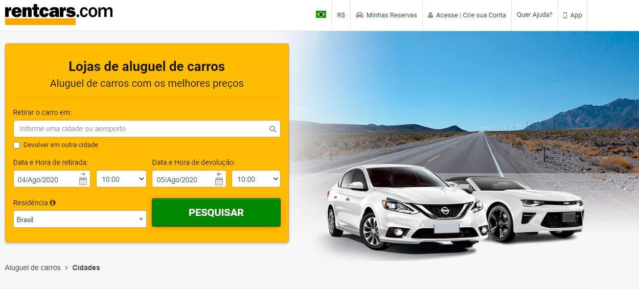 Reservar carro pela internet