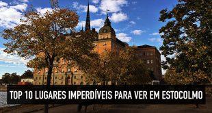 Mapa dos 10 principais pontos turísticos de Estocolmo, na Suécia