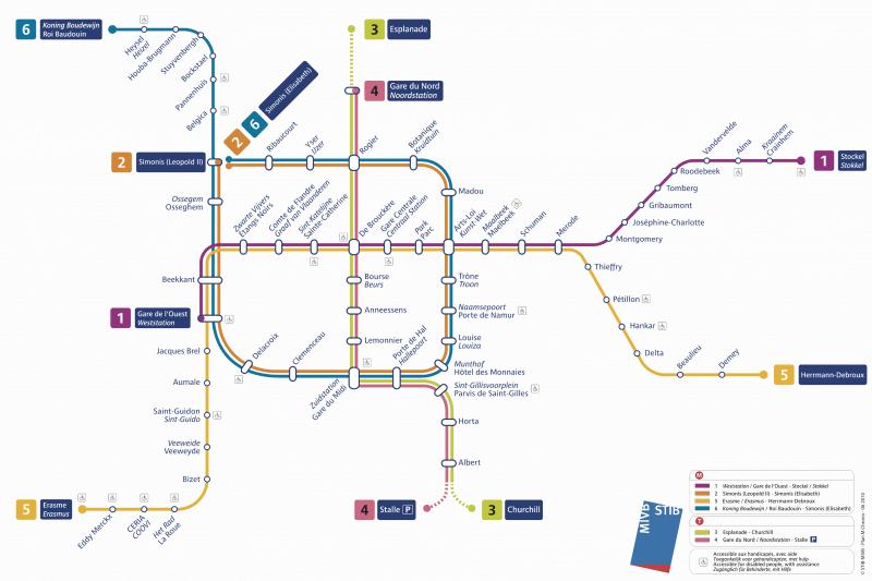 Mapa do metrô de Bruxelas
