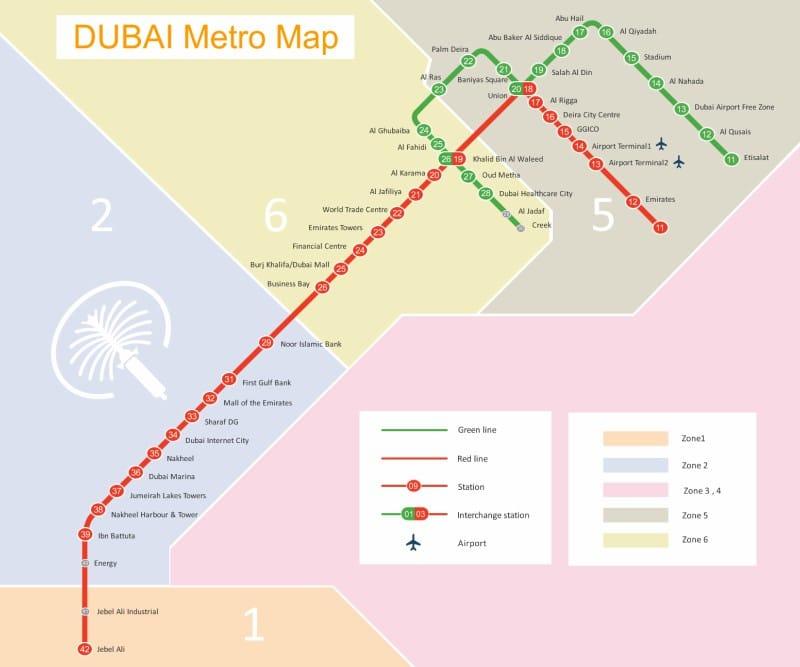 Mapa do metrô de Dubai
