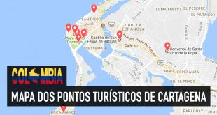 Mapa dos principais pontos turísticos de Cartagena
