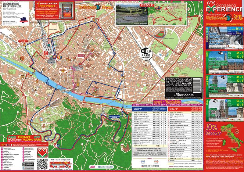 Mapa do ônibus turístico de Florença