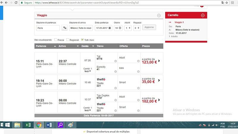 Preço das passagens de trem da Trenitalia