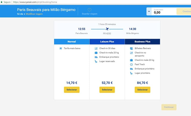 Simulação de passagem aérea por cia low cost