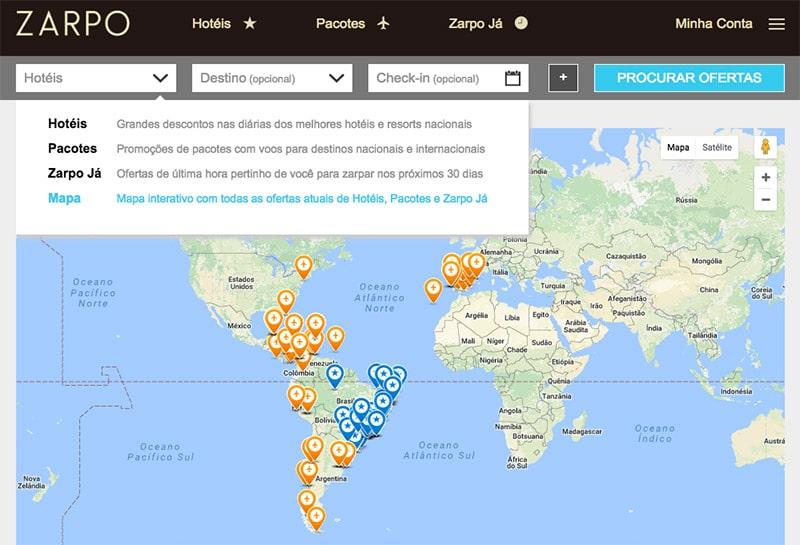 Mapa das ofertas Zarpo