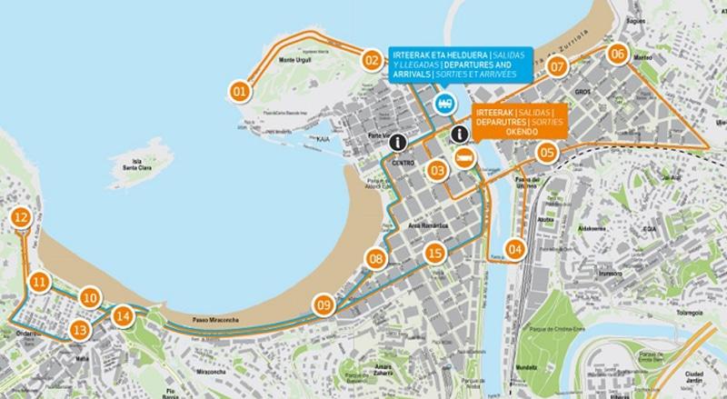 Mapa do ônibus turístico de San Sebastián