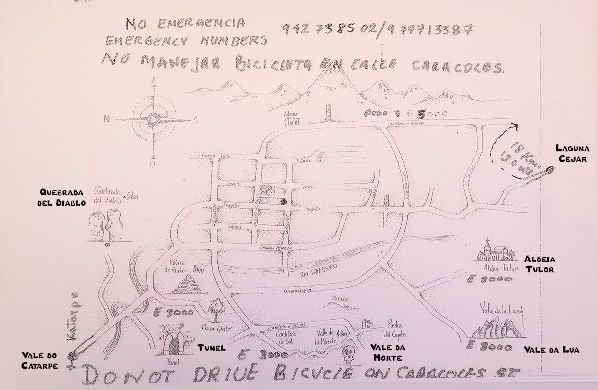 Mapa dos roteiros de bicicleta no Atacama