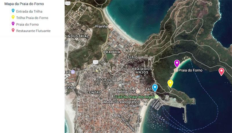 Mapa e acesso da Praia do Forno