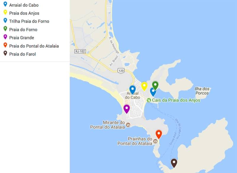 Mapa de Arraial do Cabo