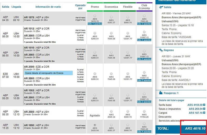 Qual companhia aérea voa para Ushuaia