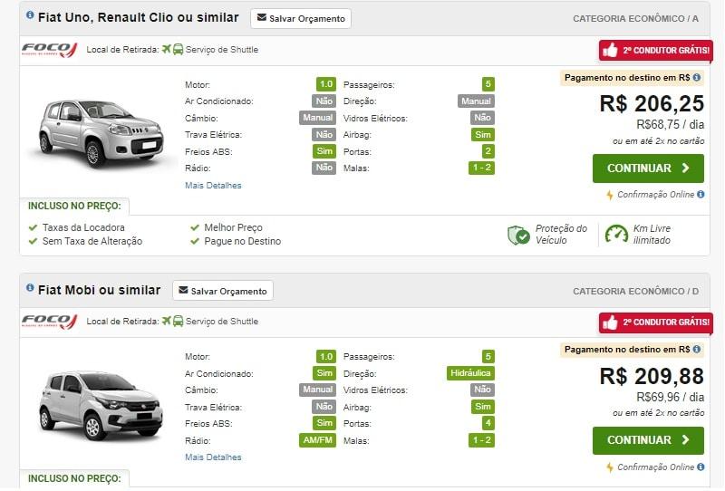 Preço do aluguel de carro no Rio de Janeiro