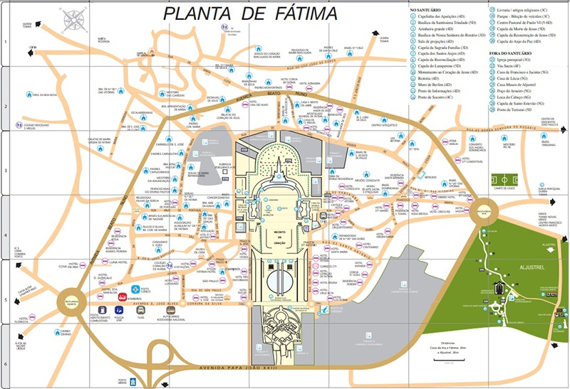 Mapa do Santuário de Nossa Senhora de Fátima
