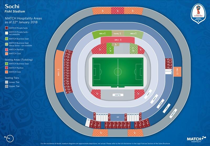 Localização do estádio em Sochi