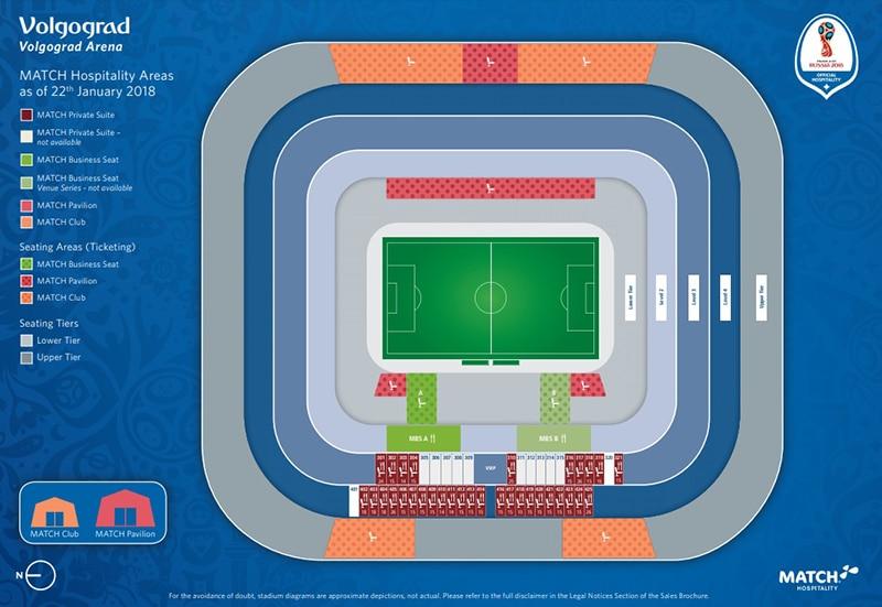 Localização do estádio de Volgograd Copa 2018