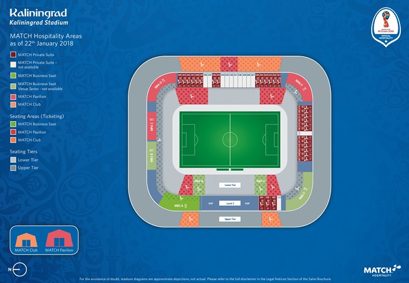 Localização do estádio de Kaliningrad