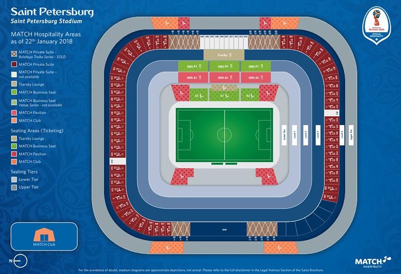 Mapa do estádio São Petersburg