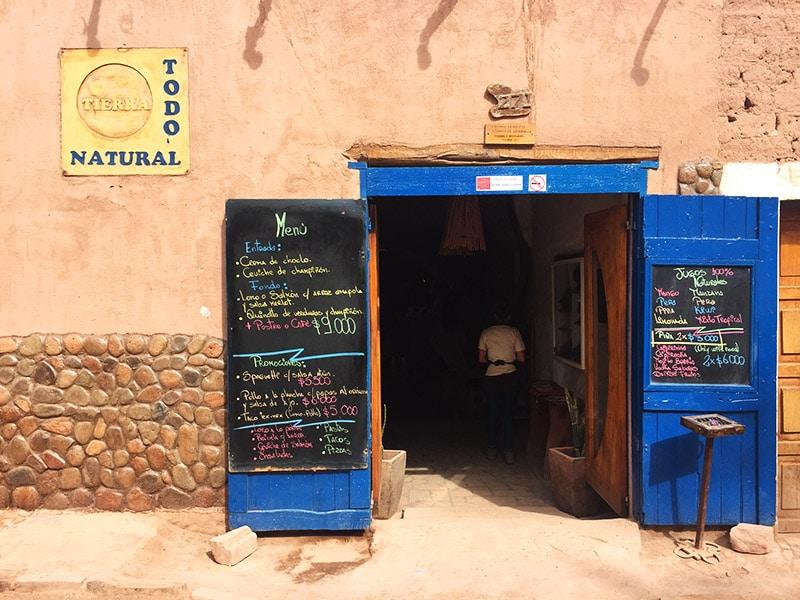 Restaurante de comida gostosa no Atacama