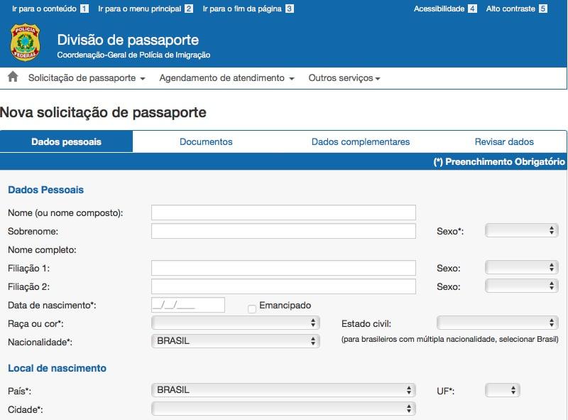 Site para agendar passaporte