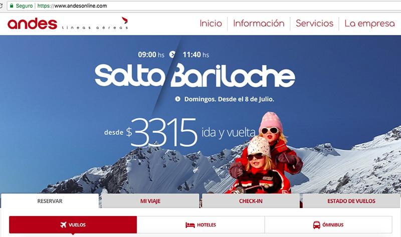 Como comprar passagens da Andes Líneas Aéreas