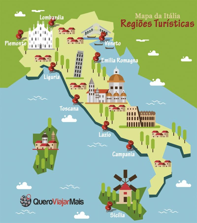 mapa da italia Mapa da Itália: 9 regiões turísticas do país para conhecer | Quero  mapa da italia