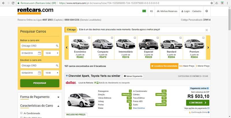 Preço do aluguel de carro em Chicago