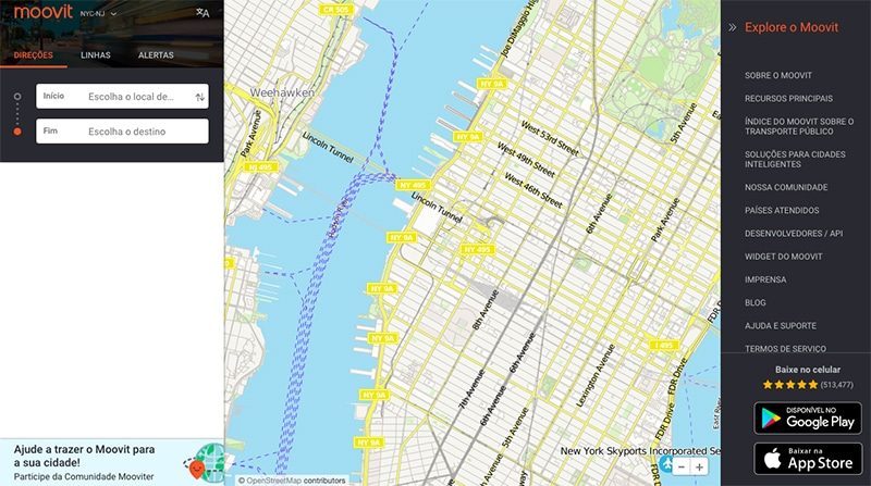 App com mapas dos EUA