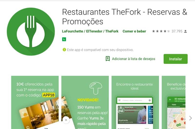 Aplicativo para encontrar restaurantes na Europa