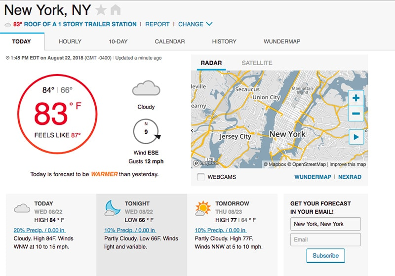 App para clima nos Estados Unidos