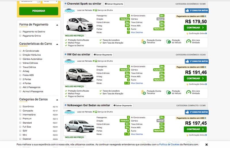 Preço médio para aluguel de carro em Cancún por 5 dias