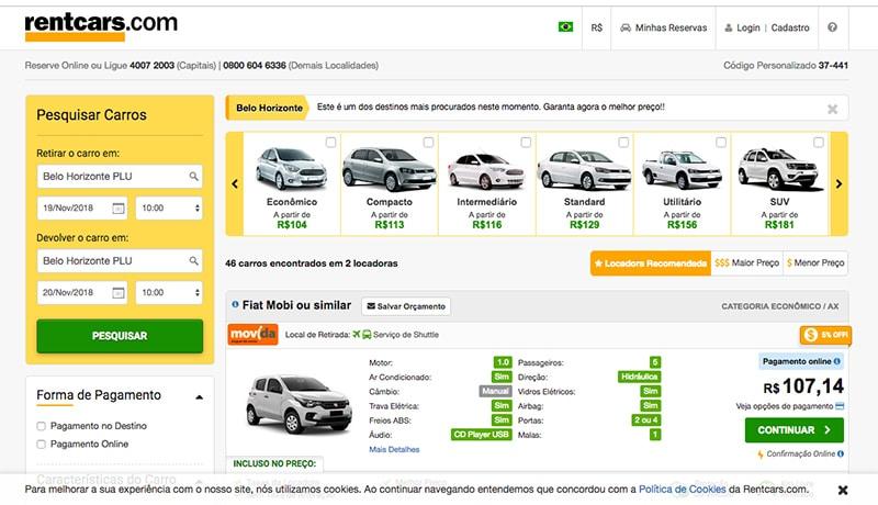 Aluguel de carro em BH preços